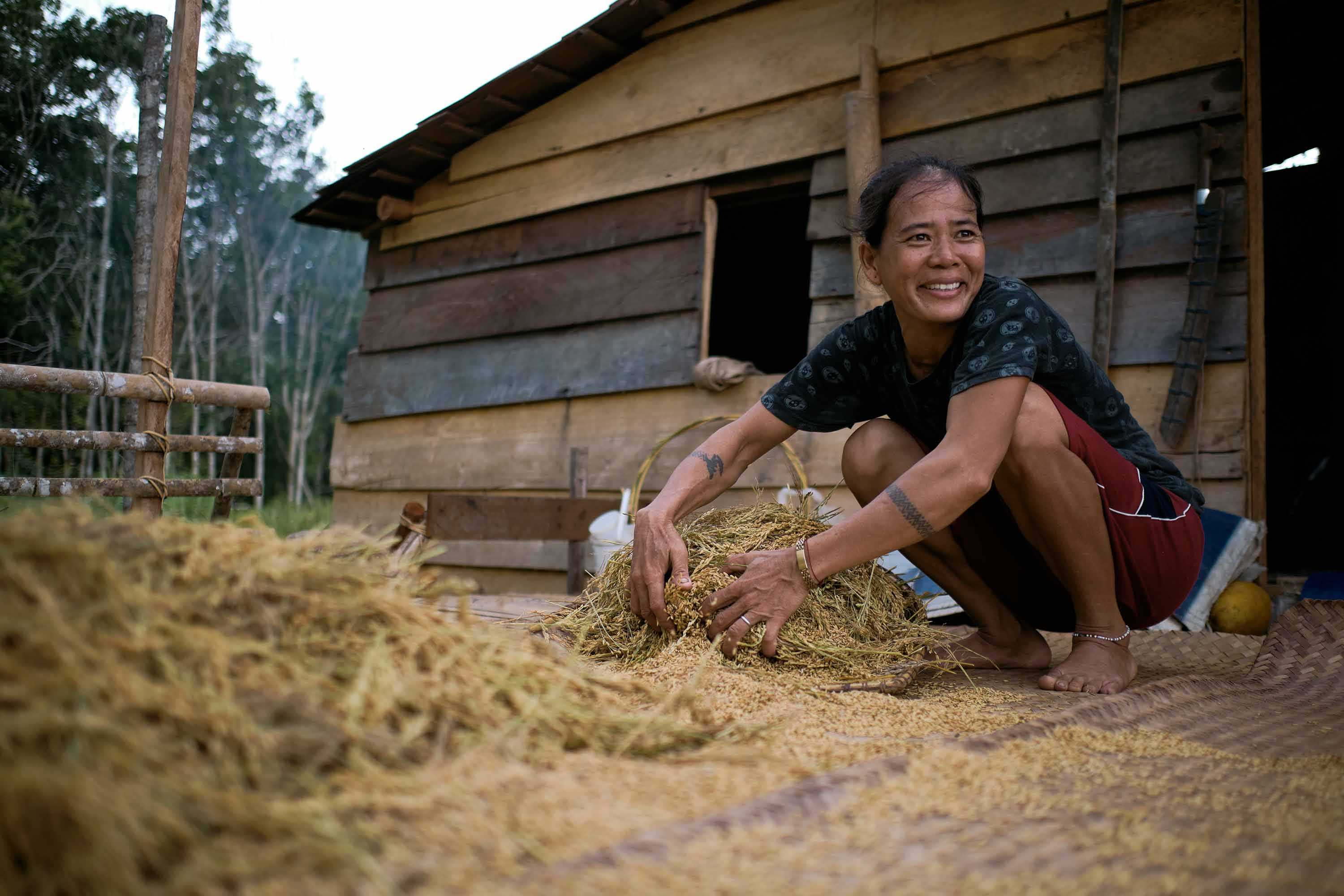 An older woman looks to the left smiling while separating rice grains from the stalks on the deck of a farmhouse.