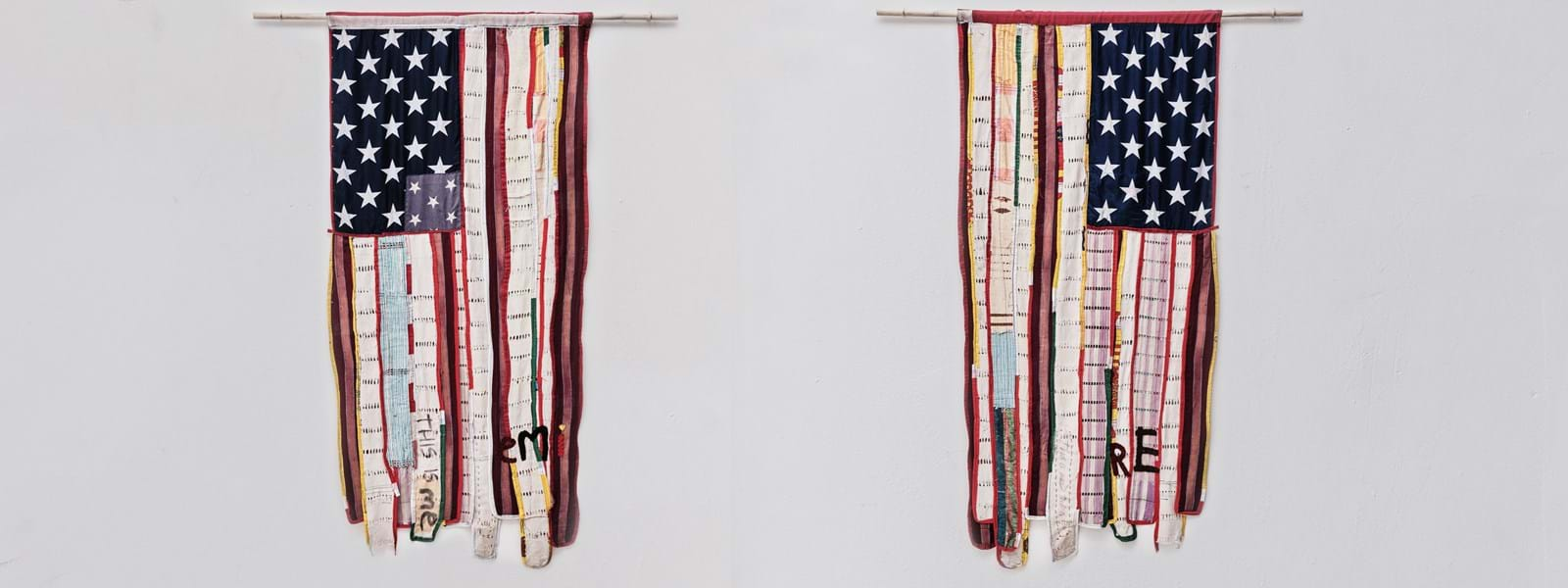Image of daàPò réo, I TO I (Two-sided Flag from the Self Portraits series). Two American flags made up of different fabrics hung up side by side against a gray background.
