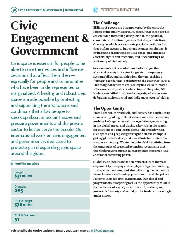 First page of the CEG One-Pager - International