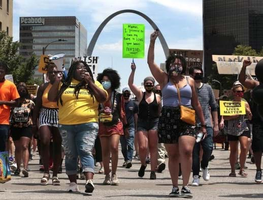 Organizers march in St. Louis Missouri to advocate for racial justice. Photo credit: Action St. Louis