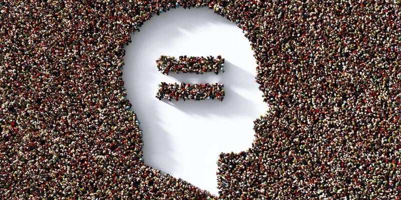Outline of a human head with an equal sign in the middle cut out of an ocean of people.$1.3M in grants go towards making the web's open source infrastructure more equitable